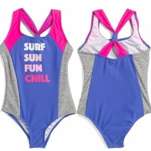 Big Chill Little Girls One Piece Swimsuit with Double Back Strap